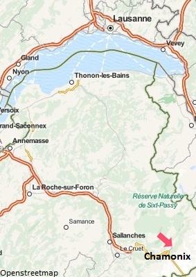 Carte de Chamonix en Haute Savoie